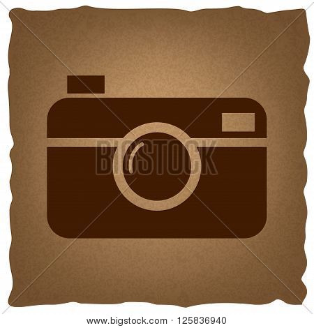 Digital photo camera icon. Coffee style on old paper.