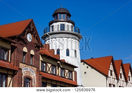 Kaliningrad Russia - April 15 2016: Lighthouse in the Fishing Village famous landmark of the city spring time