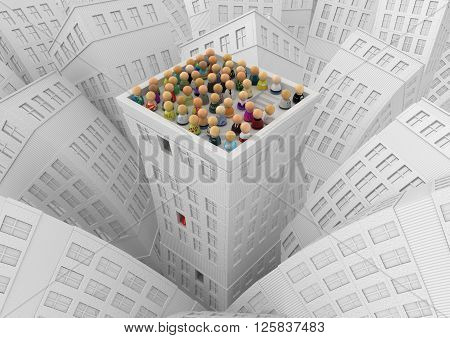 Crowd of small symbolic figures white city building roof top 3d illustration horizontal