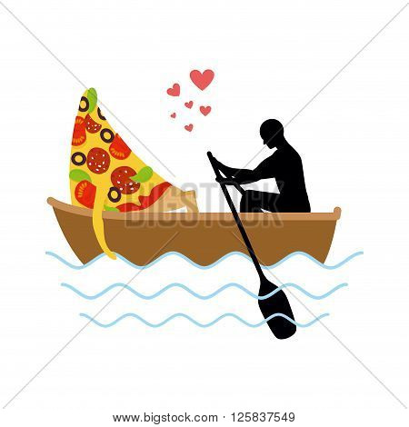 Man And Slice Of Pizza And Ride In Boat. Lovers Of Sailing. Man Rolls Pizza On Gondola. Appointment