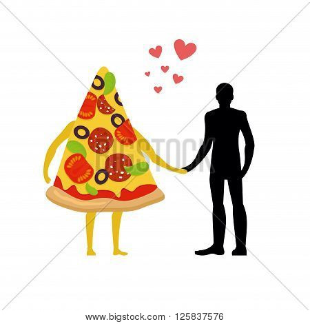 In Love With Pizza Man. Man And Slice Of Pizza. Lovers Holding Hands. Romantic Meal Illustration Lif