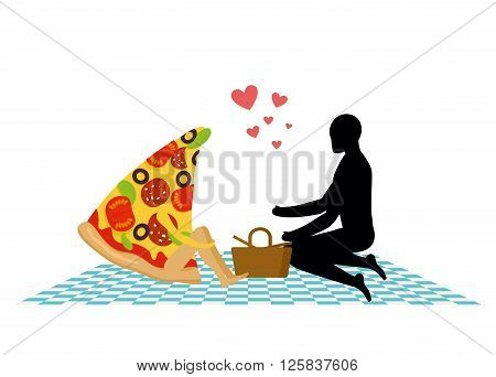 Pizza On Picnic. Rendezvous In Park. Piece Of Pizza And Man. Country Lovers Jaunt Into Cash. Meal In