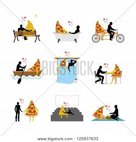 Love Of Pizza Set. Man And Slice Of Pizza In Movie Theater. Lovers In Bath. Romantic Rendezvous With
