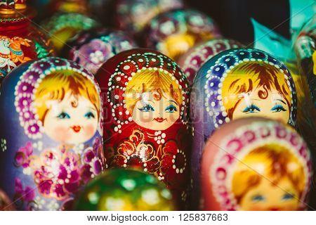 SUZDAL, RUSSIA - May 22, 2015: Colorful Russian Nesting Dolls Matreshka At Market. Matrioshka