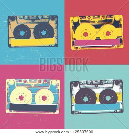 Audiocassette retro popart music seamless background. Vintage styled retro music seamless pattern