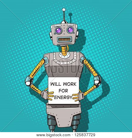 Robot with ads  pop art style vector illustration. Robot illustration. Comic book style imitation. Vintage retro style robot. Conceptual illustration