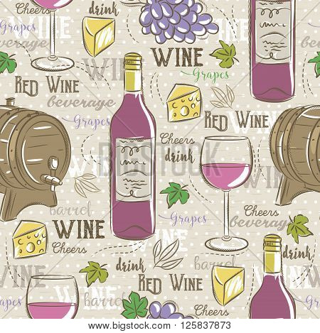 Beige seamless patterns with red wine set cask glass grapes cheese and text. Ideal for printing onto fabric and paper or scrap booking.