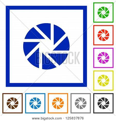 Set of color square framed aperture flat icons on white background