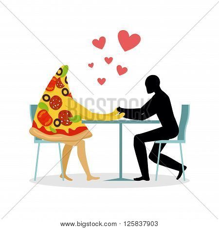 Lover Pizza In Cafe. Man And A Slice Of Pizza Sitting At Table. Food In Restaurant. Pizza In Dining