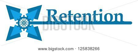 Retention text written over abstract blue graphical element.