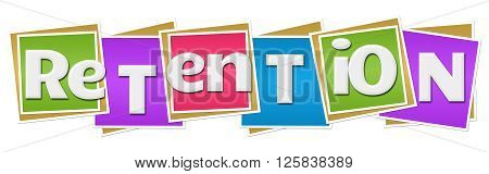 Retention text written over colorful Squares background.