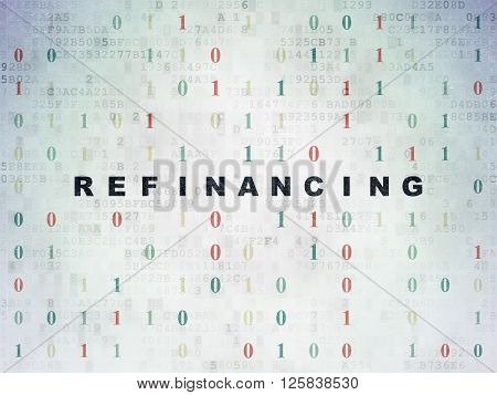 Finance concept: Refinancing on Digital Paper background