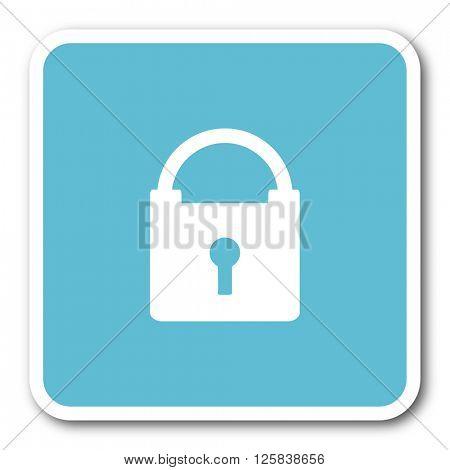 padlock blue square internet flat design icon