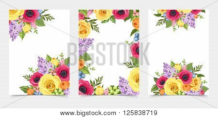 Vector set of flyers with red, pink, orange yellow and purple roses, anemones and lilac flowers and green leaves.
