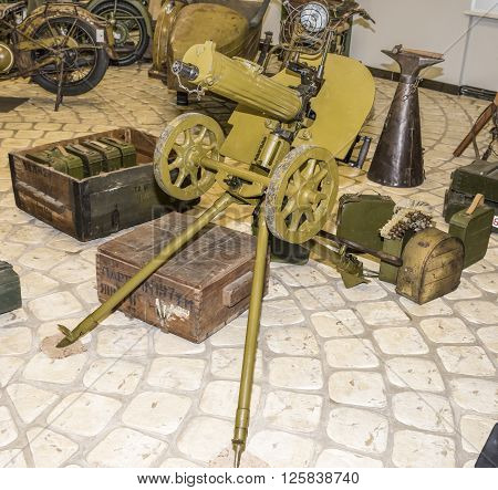 MOSCOW RUSSIA- DECEMBER 15- Maxim machine gun on anti-aircraft system performance at the Museum of technique V.Zadorozhnyj on December 15; 2015 in Moscow