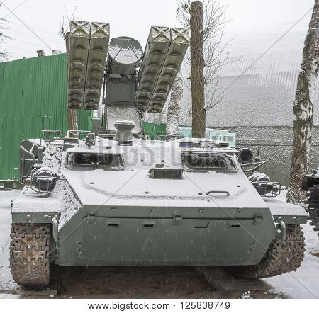 MOSCOW RUSSIA- DECEMBER 15- 9A35-Combat vehicle with four missiles 9M37 air defense missile system 9K35