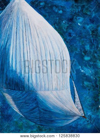 Spinnaker from above art work in mixed media