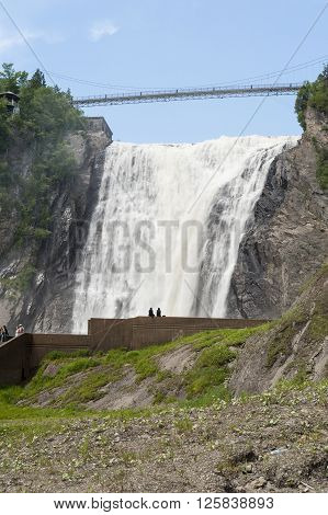 BEAUPORT QUEBEC/CANADA - JUNE 14 2010: View dramatizes scale of 275-foot Montmorency Falls