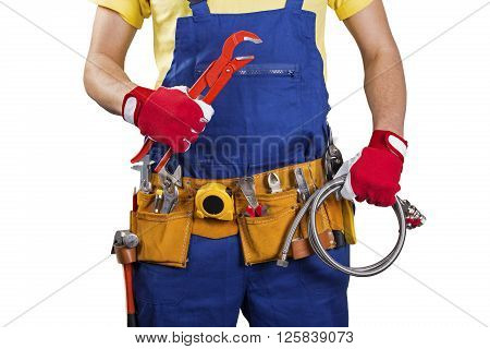 plumber with tool belt isolated on white background