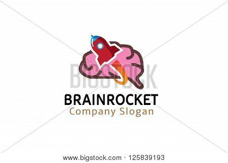 Brain Rocket Creative And Symbolic Logo Design Illustration