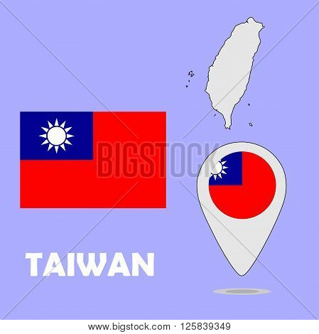 A pointer map and flag of Taiwan