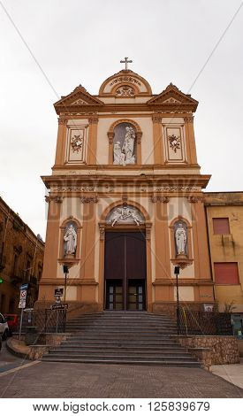 View of the Madonna del Carmine church in Calascibetta