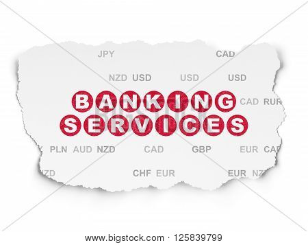 Money concept: Banking Services on Torn Paper background