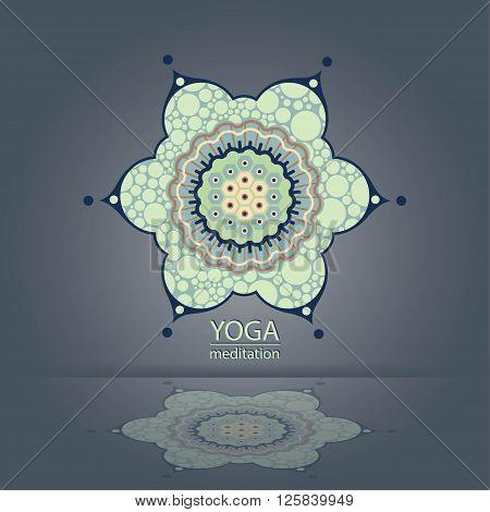 emblem Yoga decorative flower specular reflection design