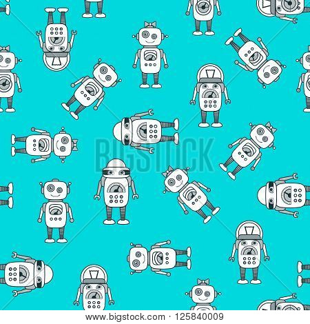 Cute Robot Cartoon Character seamless vector pattern. Flat icon template set. School after-school kids' activities technology education concept. Use for youth targeted product decoration. Editable