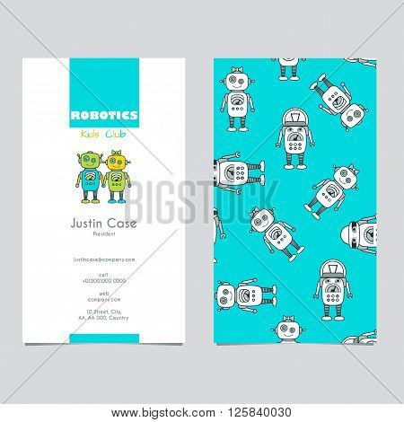 Cute Boy & Girl Robot cartoon character educational flat icon & business card template. School after-school kids' activities technology education club business sign concept. Sample text. Layered editable