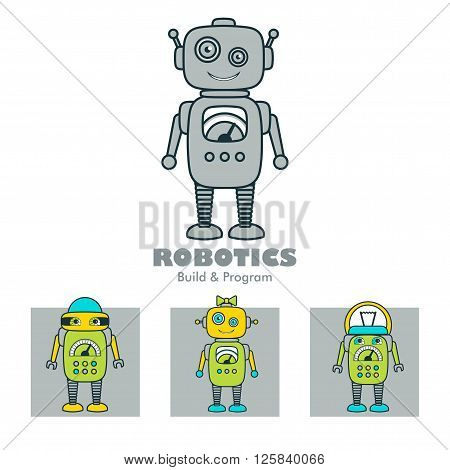 Cute Boy & Girl Robot cartoon character educational flat icon template. School after-school kids' activities technology education club business sign concept. Sample text. Layered editable