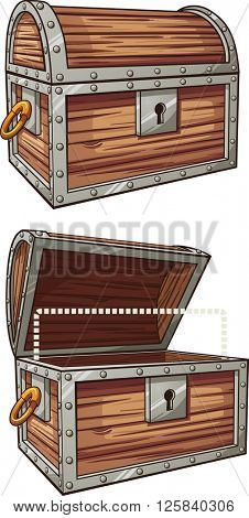 Cartoon treasure chest. Vector clip art illustration with simple gradients. Each element on a separate layer.