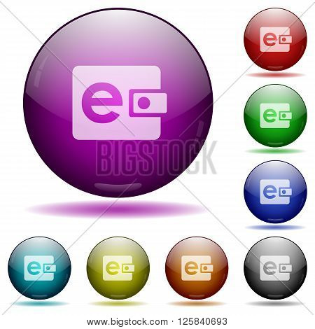 Set of color e-wallet glass sphere buttons with shadows.