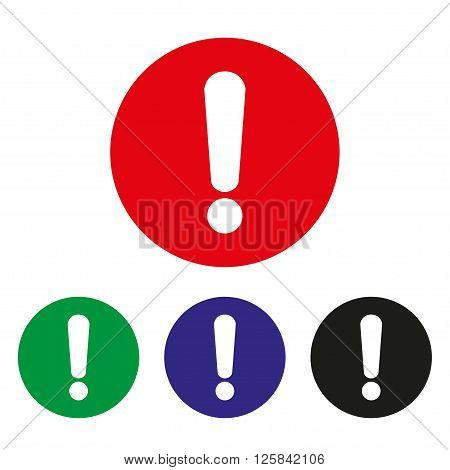 Exclamation  mark set of icons on a white background. Vector illustration