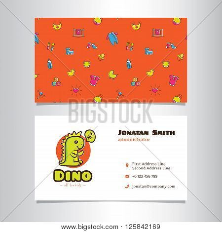 Vector modern business card template with cute dino logo