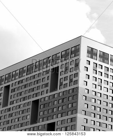 Residential skyscraper on the outskirts of St. Petersburg Russia. Black and white.