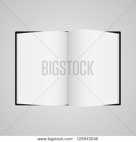 Black Boock Blank Page Template For Design Layout. Vector Illustration On Gray Background
