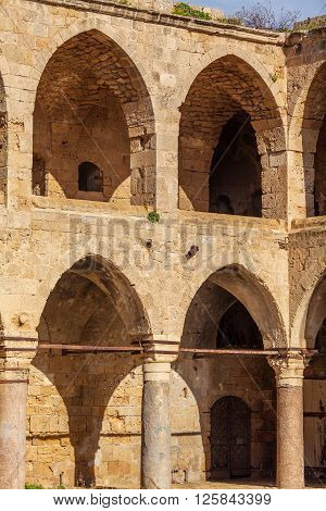 Khan al-Umdan Mosque Colonnade Acre city Israel