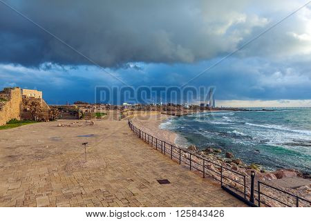 Sea Coast And Ruins Of Caesarea Maritima, Israel