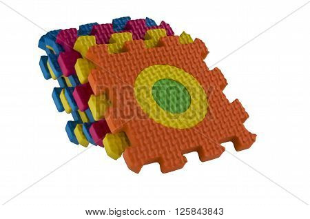 Colorfull interlocking foam mats toy isolated on white