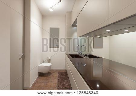 Interiors of new apartment, modern restroom