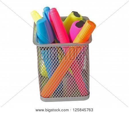 Color felt- tip pens over white background