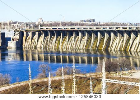 Dam hydroelectric power industry. Horizontal shot topic - industrial objects.