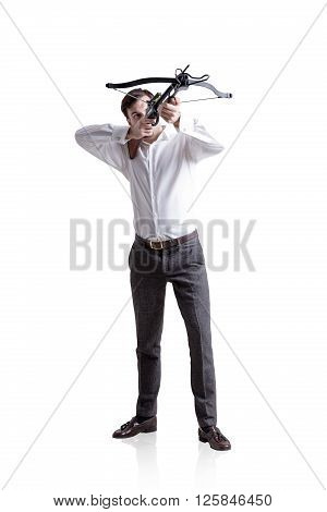 Businessman aiming at target with bow and arrow isolated on white background