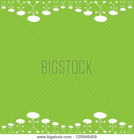 Frame pattern of white manikin figure little man on green background