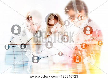 Networking system and businesspeople. Double exposure, close up