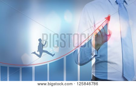 Businessman Running Upward