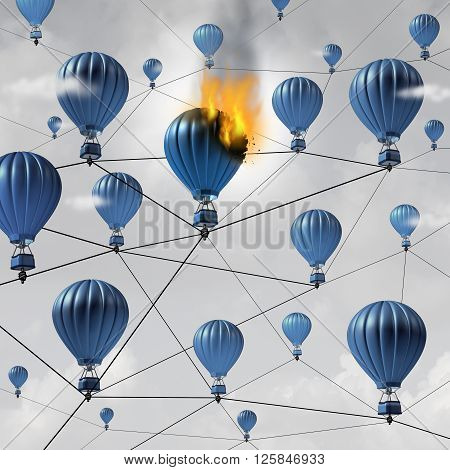 Network connection failure business concept as a burning air balloon burning up in a group of connected air balloons breaking the link in a communication structure as a 3D illustration.