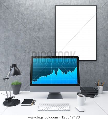 Frontview of concrete workplace with blank frame and computer monitor with business charts. Mock up 3D Rendering
