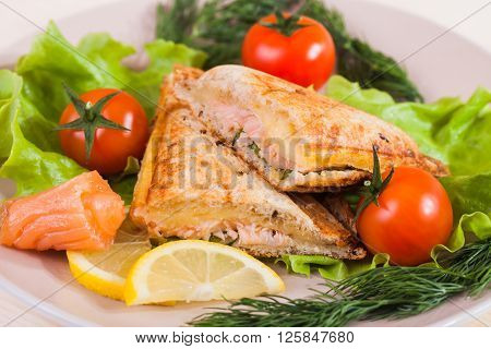 Sandwich with salmon and tomatoes on a plate